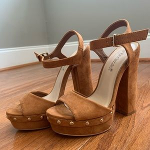 Chunky brown ankle strap heels